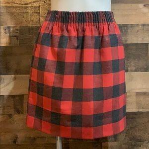 J Crew Factory Red & Black Plaid Wool Blend Skirt